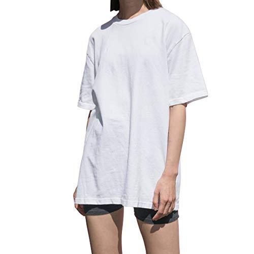 Largas Camisetas Mujer Verano Casual Blanco Negro Algodón Basicas Anchas Túnica Camisas Tops Tallas Grandes Oversize (Blanco, L)