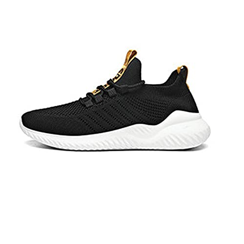 Fnho Casual Senderismo Calzado,Calzado de Running para Hombre,Zapatillas Deportivas Informales Transpirables, Zapatos Colgantes Ligeros-Negro Dorado_44