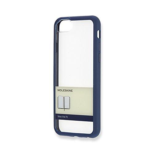 Moleskine - Carcasa Rígida Transparente, Funda Rígida Para IPhone 6/6s/7/8, Incluye Agenda Volant XS Para Notas - Carcasa Transparente con Borde Color Azul de Prusia