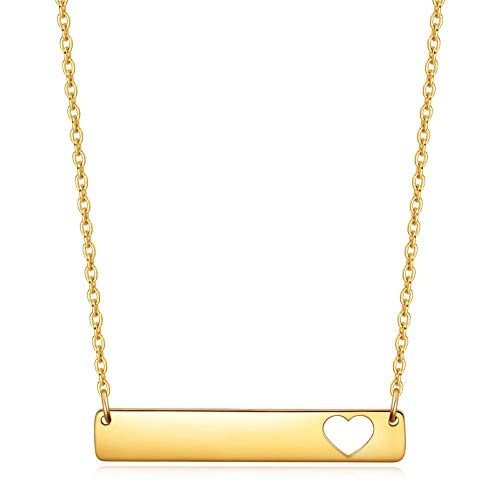 Stainless Steel Long Heart-Shaped Pendant, Electroplated Gold Lettering Necklace