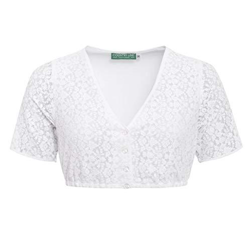 Country-Line Damen Trachten-Mode Dirndlbluse Annalies in Weiß traditionell, Größe:38, Farbe:Weiß