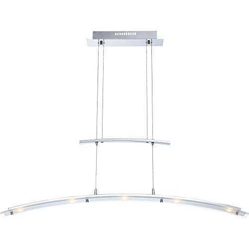 LED Hängeleuchte Höhenverstellbar Zugpendelleuchte Chrom Glas Esszimmerlampe Hängelampe, 5x LED 5 Watt 380 Lumen warmweiß, LxH 105 x 165 cm