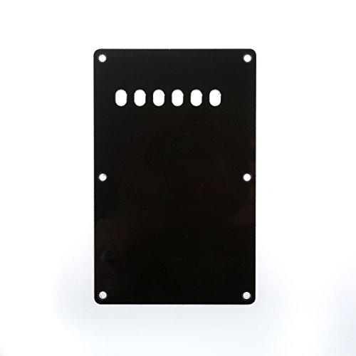 Musiclily 6 Löcher Tremoloabdeckung Backplate für China Made Squier, 3 lagig Schwarz