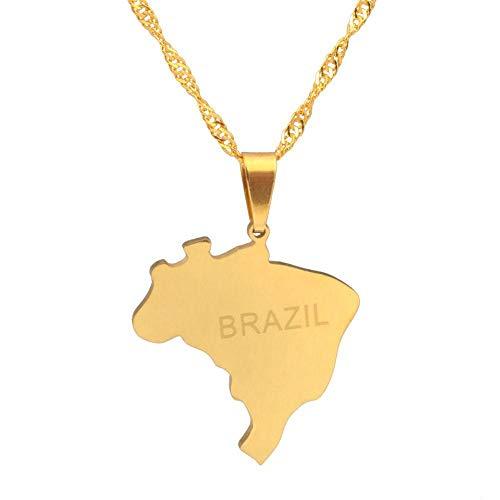 XZZZBXL Map Necklace for Women,Brasilien Karte Anhänger Halsketten Mode Persönlichkeit Für Frauen Mädchen Gold Colour Chain Charme Karten Schmuck 45 cm (18 Zoll)-Thin_Kette