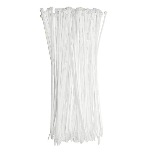 12' Inch Zip Ties White (100 Pack), 40lb Strength, Nylon Cable Wire Ties, By Bolt Dropper.