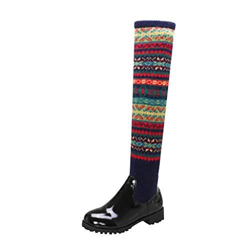 Yowablo Stiefel Schuhe Frauen Winter Warm Med Heels Cool Retro Slip On über die Knie Schnee (36,Blau)