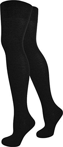 normani® Damen Overknees Über-Knie Strümpfe Geringelt Farbe Schwarz