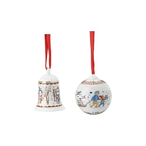 Porzellanglocke + Porzellankugel 2021 - Hutschenreuther - Motiv Weihnachtsgaben