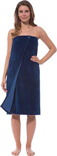 Morgenstern Saunakilt Damen Saunatuch Marine blau 90 cm lang Saunahandtuch zum Knöpfen mit Gummizug Frauen Baumwolle Microfaser Viskose