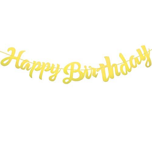 SUSSURRO - Banderín de cumpleaños con texto en inglés 'Happy Birthday', color oro rosa y dorado