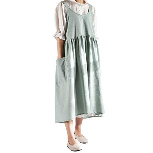 Delantales de lino de algodón de estilo japonés, vendaje cruzado de color sólido en forma de X espalda cocina cocinar ropa para hornear floristería monos (Verde, One Size)