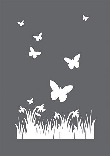 Rayher 45123000 Schablone Frühling, Format DIN A5, mit Rakel, sie bdruck-Schablone, Malschablone, selbstklebend