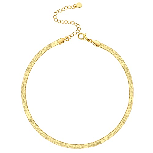 Gold Choker Necklace for Women Girls 5MM Flat Snake Link Chain 14K Thick Gold Plated Herringbone Layered Necklaces Trendy Costume Jewelry 16''
