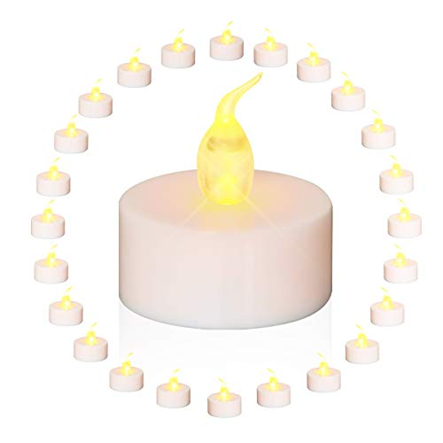 Tea Lights GLIME LED Candles 24-Pack Realistic Flickering Flameless Candles Battery Operated with Warm White Bulb Light for Halloween,Christmas, Wedding Propose,Party,Birthday Decoration