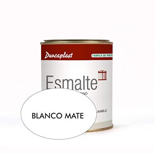 Pintura esmalte sintético Durcaplast, ideal para la protección, decoración y mantenimiento de superficies de hierro y madera. Uso Interior/Exterior (750ml, BLANCO MATE)