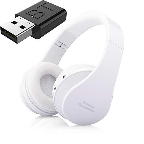 Auricular Bluetooth TV, Auriculares Hi-Fi Bluetooth, Bajo Profundo Auricular Inalámbrico De TV, La Barra De Inicio para La TV Teléfono De La Computadora,Blanco