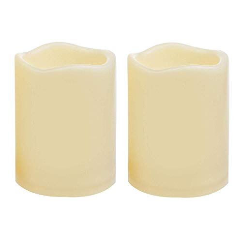 2 Waterproof Outdoor Battery Operated Flameless LED Pillar Candles with Timer Flickering Plastic Resin Electric Decorative Light for Lantern Patio Garden Home Decor Party Wedding Decorations 3x4 Inch