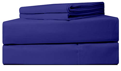 Five Elements 1000-Thread-Count 100% Egyptian Pure Cotton Sheets Set Royal Blue Queen Size, 4-Pc Extra Long-Staple Luxury Hotel Bedding Bed Sheet, Soft Sateen Weave, Fit Mattress Upto 18'' Deep Pocket