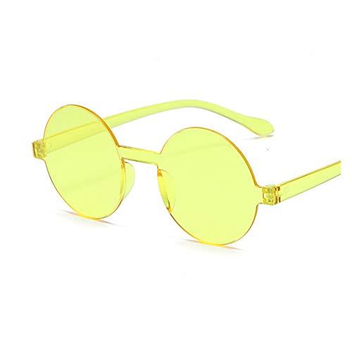 Vintage Pequeño Redondo Rojo Gafas de Sol Mujeres Retro Gafas de Sol Negro Gafas de Sol Mujer Color de Dulces Mujeres (Lenses Color : Yellow)
