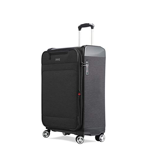 UNITRAVEL Suitcase Soft Expandable 53 Centimeters 37 Liters 4 Wheels Black TSA Lock