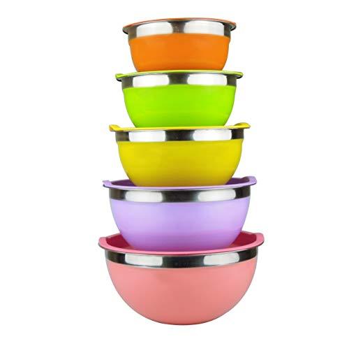 Cuenco de acero inoxidable cuencos mezcladores boles de acero inoxidable ensaladera con tapas, juego de 5 tazones de cocina apilables grandes-1.1, 1.6, 2.2, 2.8, 3.9 Litros (Multicolor)