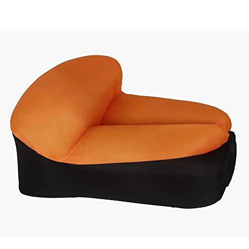 BRFDC Lazy Sofa Meditationsstuhl Lazy Aufblasbares Sofa | Luftbett | Air Einzelsitz | Faltbare tragbare Sofatasche | Belastbar 250kg | 105 × 75 × 55 cm (Farbe : Orange Black)
