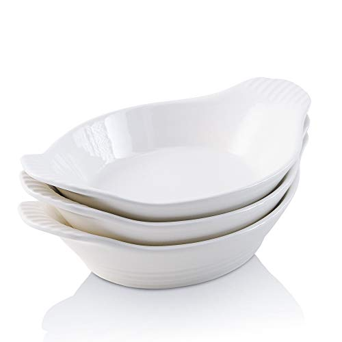 KOOV Ceramic Bakeware Set, Au Gratin Baking Dish Set with Double Handle for Kitchen and Home, Oval Baking Pan Wave Series, Set of 3 (White)