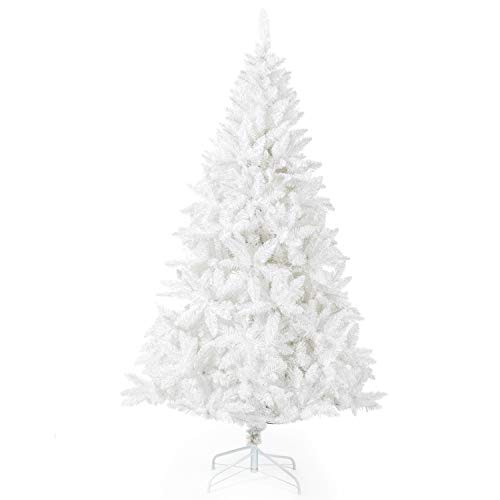 Artificial Christmas Tree Classic Xmas Pine Tree with Solid Metal Stand 5-6 FT Unlit White