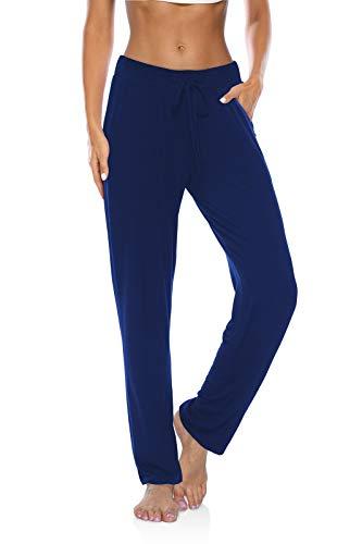 DIBAOLONG Womens Yoga Pants Wide Leg Loose Drawstring Comfy Lounge Workout Sweatpants with Pockets Royal Blue M