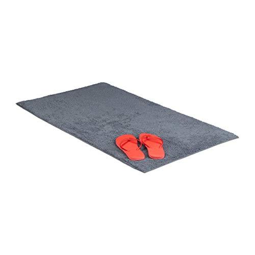 Relaxdays Badteppich 60 x 100 cm, Badematte waschbar, Badvorleger für Fußbodenheizung, grau