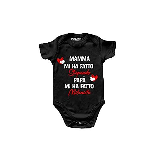 Body Neonato Milan Divertenti Manica Corta – Mamma Mi ha Fatto Stupendo, papà Mi ha Fatto Milanista - Body Bambino Unisex 100% Cotone - Abbigliamento Prima Infanzia Bimbo - 0 Mesi