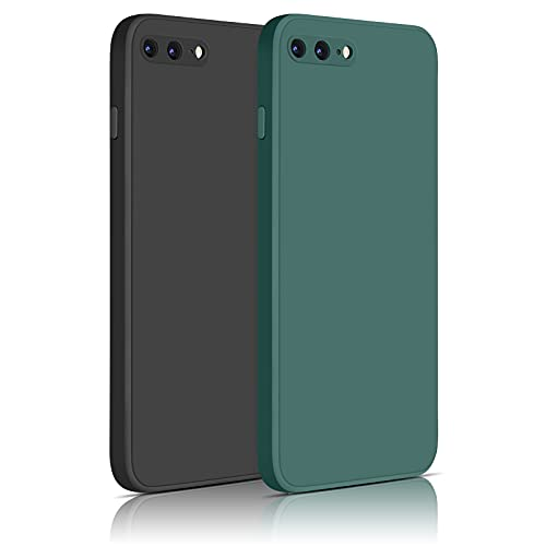 Yisica 2 Pack Silicona Funda Compatible con iPhone 7 Plus/iPhone 8 Plus, Funda de Silicona con [Forro de Microfibra Suave] Protección Completa, 4.7'