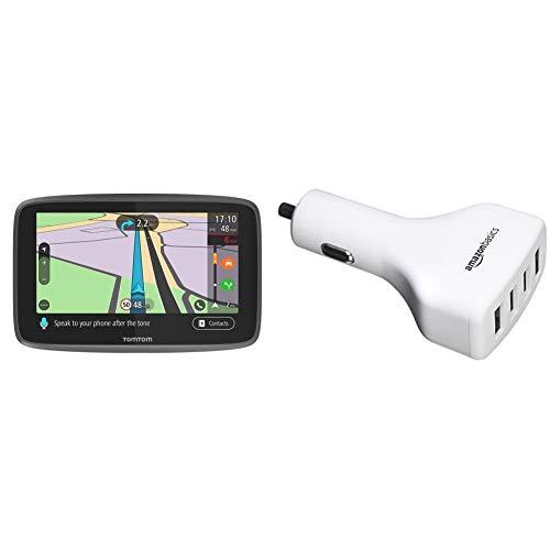 TomTom GO Professional 6250, Navegación Profesional para Vehículos Grandes + Amazon Basics - Cargador de Coche, de 9,6 A / 48W, 4 Puertos USB, para Dispositivos Apple y Android, Blanco