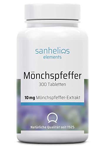 Sanhelios Mönchspfeffer - Hochdosiert - 300 vegane Mikro-Tabletten - 10mg reiner Mönchpfefferextrakt pro Tablette - Nur Premium Zutaten - leicht zu schlucken - Hergestellt & geprüft in Deutschland