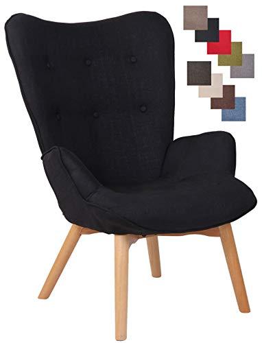 CLP Lounger Durham Mit Stoffbezug I Ohrensessel Mit Buchenholz Gestell I Loungesessel Mit Max. Belastbarkeit Bis 136 kg, Farbe:schwarz