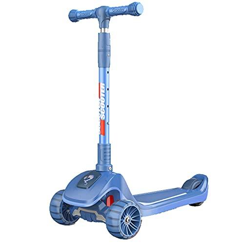 PTHZ Scooter de 3 Ruedas para niños, Altura Ajustable, Freno de la Rueda Trasera, Plegable de un Solo botón, Cubierta Ultra Ancha con Ruedas de PU Parpadeante, niños y niñas,Azul