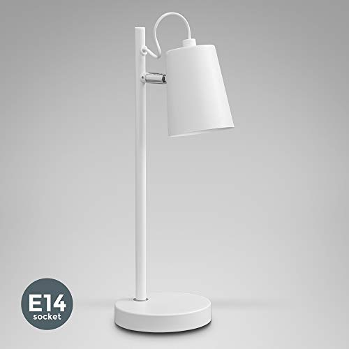 B.K.Licht Lámpara de mesa con pantalla en tela I Iluminación de ambiente I Para escritorio, dormitorio y sala de estar