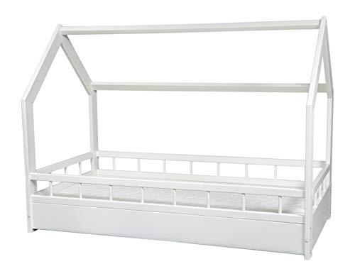 completo letto&casa+materasso ECO,stile scandinavo,bambino 160x80cm+sponde (colore del letto: bianco)