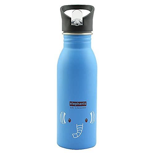 Botella de agua de acero inoxidable de 4 colores de 500 ml, botella de agua PP portátil para beber, deportes, ciclismo, vasos para niños, accesorios para el sol, ESPAÑA, azul