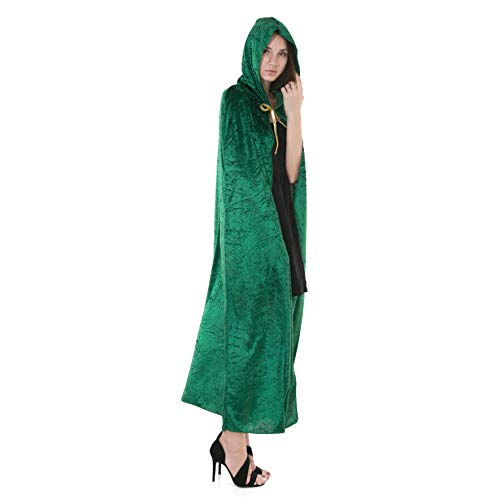Spooktacular Creations Hooded Velvet Cloak Halloween Women Witch Cape Costume Accessory Green