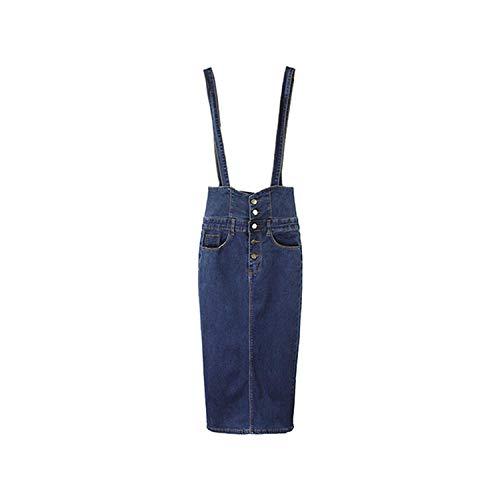 UELNCFL Lange Denim Rok met Bandjes Vrouwen Button Jeans Rokken Plus Size Lange Hoge Taille Potlood Rok Denim Rokken Womens