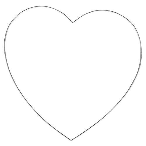 Rayher 24117000 Draht Herz, 25 cm ø, Drahtstärke 2 mm, Herz aus Metalldraht, Drahtherz Rohling zum basteln und dekorieren, silber