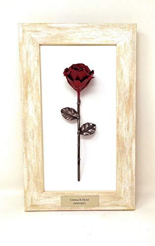 Marco decorativo con Rosa Forjada para colgar - Forjada a mano - Placa Personalizada (opcional)