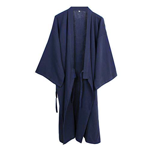 Camisón japonés para Hombre, Pijama, Kimono, algodón, camisón [Azul Marino, Talla XL]