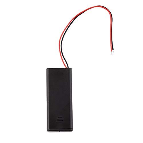 Courage Ouyang - Caja de almacenamiento de batería AAA para 2 pilas AAA con interruptor de encendido/apagado y cables de alambre, color negro