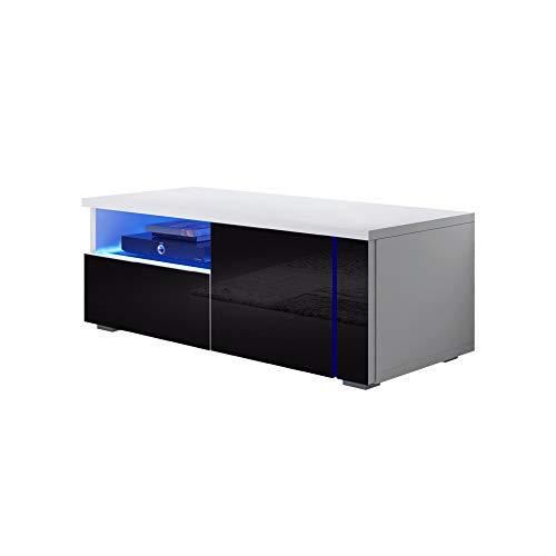 Selsey Oxy Single - Meuble TV Noir/Blanc avec éclairage LED 100cm