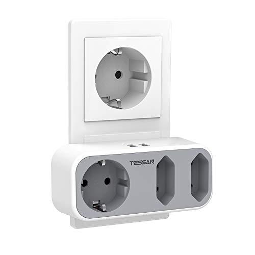 USB Steckdose, TESSAN 5 in 1 Mehrfachsteckdose mit 2 USB Anschluss, Steckdosenadapter 3 Fach Mehrfachstecker mit USB Ladegerät (2 Eurosteckdose und 1 Schuko) Kompatibel für Phone Laptop, Grau
