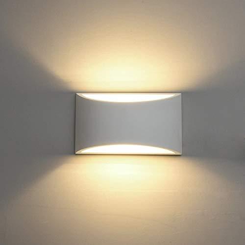 DECKEY Lámpara de Pared de Cerámica, Iluminación Decorativa en Yeso Luz de Pared LED Arriba Abajo, Efecto de Luz Interior para Dormitorio, Salón y habitación ✅