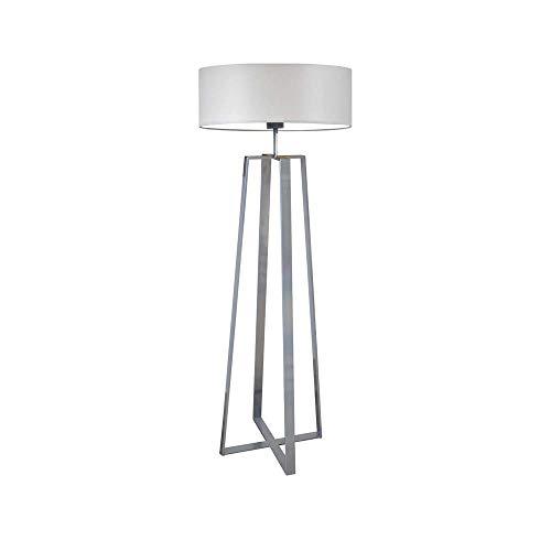 Lámpara de pie MOSS pantalla gris claro marco plata