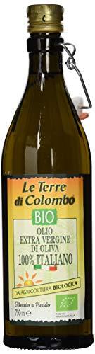 Le Terre di Colombo – 100 % Italienisches Natives Bio-Olivenöl Extra, Gerippte Flasche mit Mechanischem Verschluss, 0,75 l